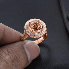 Real 14k Rose Gold 9 mm Semi Mount 0.80 ct Natural Diamond Halo Engagement Ring