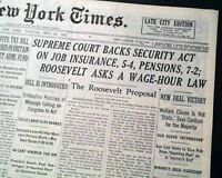 SOCIAL SECURITY & Welfare United States Supeme Court Decision 1937 Old Newspaper