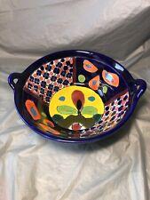 Pottery Ceramic Studio Cobalt Blue Flower Pattern Handle Bowl Dish