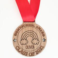Personalised Homeschool Award Medal Sustainable Oak Wood Lockdown School Gift