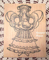 Sir Stamp-A-Lot Large Angel Holding Basket Mounted Rubber Stamp Brand New #89