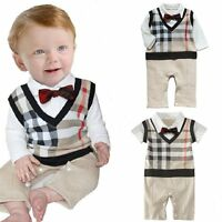 Baby Boy Wedding Tuxedo Formal Dressy Checked Suit OnePiece Outfit Clothes 3-18M