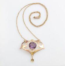 Antique Edwardian Art Nouveau 9ct Gold Amethyst Cultured Pearl Pendant Necklace