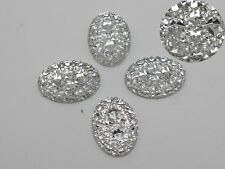 100 Clear Glitter Flatback Resin Oval Cabochon Pyramid Dotted Rhinestone 13X18mm
