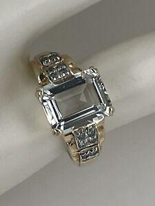 14k Yellow Gold 2.7 Ct Emerald Cut Aqua & Blue Diamond Ring Size 5 3/4, 3.2 Gr