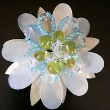 Large Retro mother of pearl type Acrylic and beaded brooch.  170342