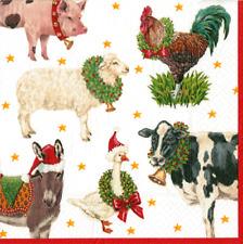 4 X SINGOLO CARTA TAVOLA tovagliolo/Decoupage/Natale/ASINO/PECORA GALLINA OCA///mucca