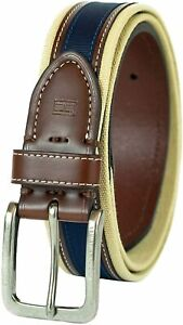 Tommy Hilfiger Men's 35MM Wide Canvas Leather Casual Belt Khaki Brown Navy
