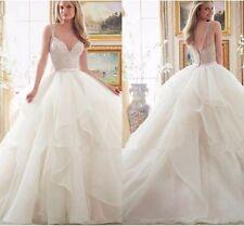A-Line Bridal Gowns White/Ivory Wedding Dress Beaded Bodice Ruffles Skirt custom