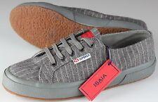 NWB ISAIA SUPERGA fashion sneakers SHOES wool striped grey luxury eu 40 us 7 1/2