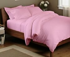KING SIZE PINK SOLID BED SHEET SET 800 THREAD COUNT 100% EGYPTIAN COTTON