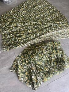 """Vintage Green Floral 70s Heavy Pair Of Curtains 75"""" 190cm Drop"""
