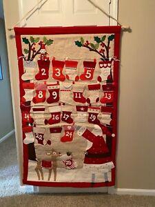 Pottery Barn Kids Christmas Countdown Advent Wall Hanging Calendar Santa