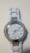 GUESS Watch White Polycarbonate Sport Watch Crystal Silver
