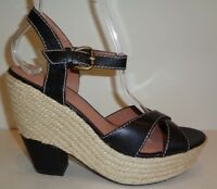 Corso Como Size 8.5 M ROXI Black Leather Wedge Sandals New Womens Shoes