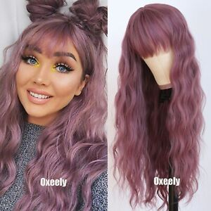 AU 24inch Cosplay wig with bangs Purple Synthetic hair Daily use Full Head
