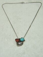 "OLD PAWN TURQUOISE & CORAL PENDANT NECKLACE/STERLING SILVER 15"" CHAIN  N524-V-2"