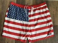 Men's 2XL VINEYARD VINES USA Chappy Trunks Moonshine Quick Dry Swim Shorts NWT