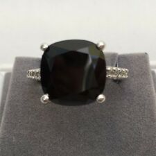 A Beautiful Cushion Cut 9ct Black Spinel & White Topaz 925 Sterling Silver Ring