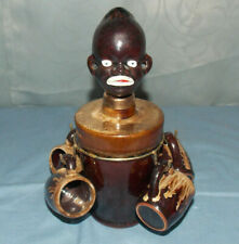 "Unique Vintage Black Americana/African Man""Whiskey Decanter & Shot Cups""! Japan"