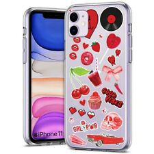 Thin Gel Phone Case for Apple iPhone 11,XS,XR,8 Series,Sticker 8 Red Print