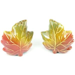Autumn Leaves Salt and Pepper Shakers Country Farmhouse Fall Maple Leaf Ceramic
