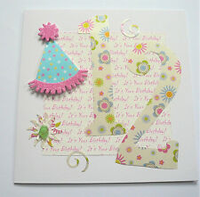 CHILDREN'S 12th BIRTHDAY Card Pink Blue Flower SEA GLASS Embellished HANDMADE