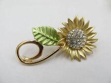 Fashion Shiny Crystal Rhinestone Gold Sunflower Brooch Pin Charm Unique Jewelry