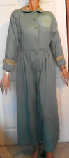 Vintage Light Blue Wool Robe Rhinestone Gold Metallic Trim B40 AS IS