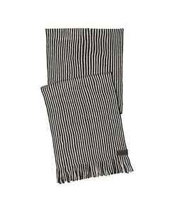 Calvin Klein Men's Knit Striped Scarf with Fringes  Bleached Sand-One Size