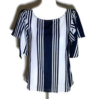 Banana Republic Womens Top Scoop Neck Short Sleeves Blue Striped Work Size Small
