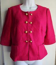 ANN TAYLOR LOFT Fuschia Pink Double Breasted Wool Blend S/S Blazer Sz M