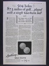 1928 Spalding KRO-FLITE Golf Balls vintage print Ad
