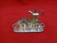 Miniature Sterling Silver Martini Set with Tray, Shaker and 6 Cups (#432)