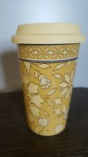 Longaberger Ceramic Travel Mug With Lid 10 Oz Gold Floral