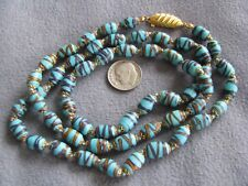 """Rare 28"""" Vintage Venetian Lamp Work Turquoise Glass Bead Necklace"""