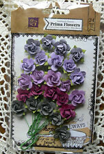 SACHET PLUM 24 Paper ROSES 5 Mixed Colours PRIMA Flower Packs Approx 2cm Ea