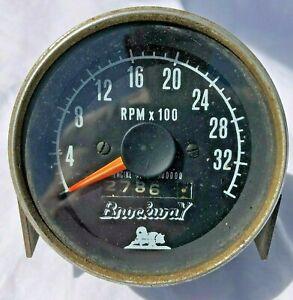 Vintage BROCKWAY TRUCK Tachometer 3500 RPM w/ rev counter Mack Autocar Diesel