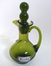 VINTAGE HAND BLOWN BY RAINBOW OLIVE GREEN RUFFLED RIM DECANTER WITH STOPPER USA