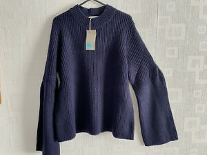 BODEN  navy blue Leah chunky knit  Jumper   size M fit  12-14  NEW