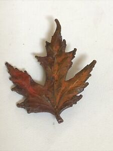 Vintage Costume Jewelry Autumn Fall Maple Leaf Enamel Red and Brown Pin Brooch