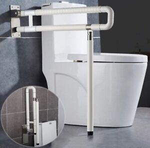 MEETWARM Handicap Rails Foldable Toilet Grab Bar Handles Bathroom Seat Support