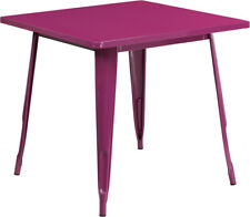 "+31.5"" Square Industrial Style Purple Metal Indoor & Outdoor Restaurant Table"