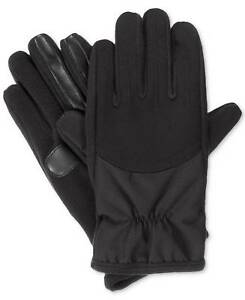$125 Isotoner Mens Stretch Gloves Black Solid Touchscreen Athletic Winter Size M