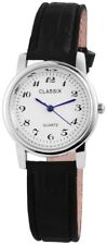 Damenuhr Classix Damen Armbanduhr  Kunstleder Armband Uhr in Weiß  Gehäuse 30 mm