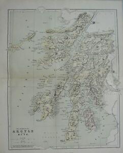 1868 MAP SCOTLAND ARGYLE BUTE INVERARY MULL LORN ROTHESAY ARRAN