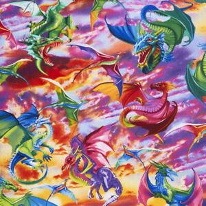 Timeless Treasures Fantasy Multicoloured Dragons 100% Cotton Fabric FAT QUARTER