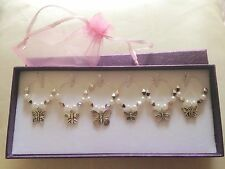 6 White & Silver Butterfly Wine Glass Charms Birthday Xmas **Gift Box Available