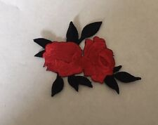 Sew on & iron on  patches(small twin rose-red)
