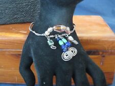 Handmade Sterling silver wire Wrapped Bracelet w/Glass Beads